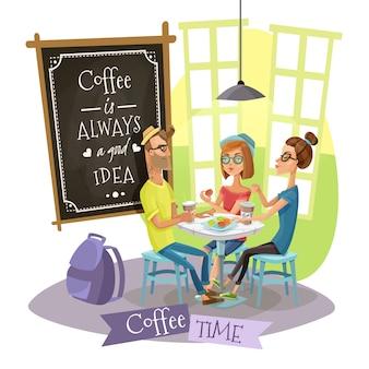 Concetto di design di tempo del caffè con pantaloni a vita bassa