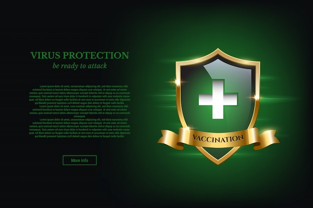 Concetto di design di vaccinazione con scudo e testo di protezione da virus.
