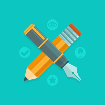 Concetto di design grafico vettoriale - penna e matita