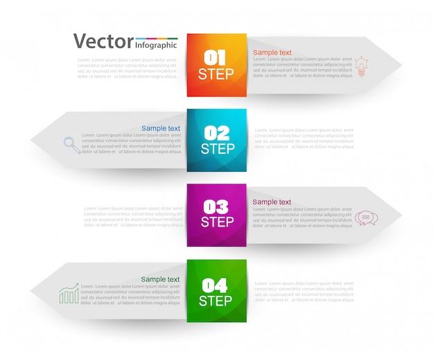 Concetto di design infografico con quattro opzioni o passaggi