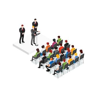 Concetto di design isometrica di riunione del partito