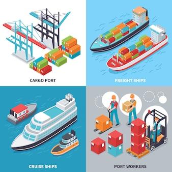 Concetto di design isometrico con merci e navi da crociera e lavoratori del porto marittimo