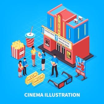 Concetto di design isometrico di cinematografia