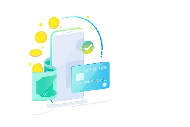 Concetto di design isometrico di mobile banking online e internet banking, società cashless, transazione di sicurezza tramite carta di credito.