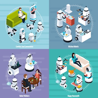 Concetto di design isometrico di robot domestici