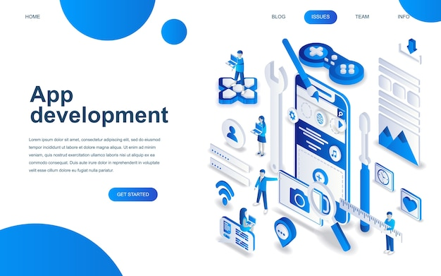 Concetto di design isometrico moderno di app development
