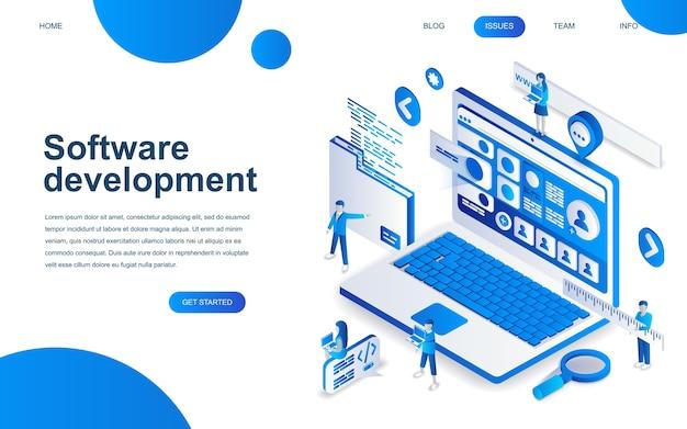 Concetto di design isometrico moderno di sviluppo software