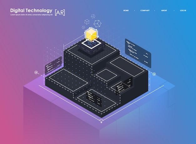Concetto di design isometrico realtà virtuale e realtà aumentata. sviluppo ar e vr. tecnologia multimediale digitale per sito web