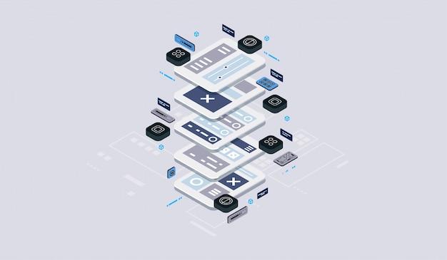 Concetto di design isometrico realtà virtuale e realtà aumentata. sviluppo e programmazione software. calcolo di big data center, tecnologia isometrica quantistica per computer