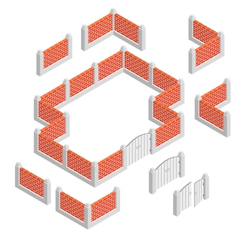 Concetto di design isometrico recinzioni