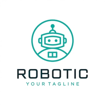 Concetto di design logo robot. logo robotico universale.