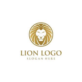 Concetto di design logo testa di leone