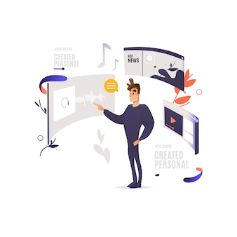Concetto di design per applicazioni mobili e siti web. uomo in piedi vicino allo schermo del dispositivo digitale con finestre di siti web con contenuti multimediali e sociali.