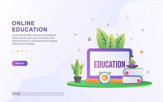 Concetto di design piatto di formazione online.