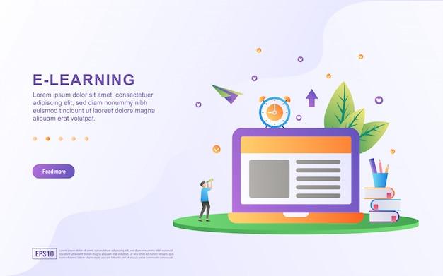 Concetto di design piatto e-learning.