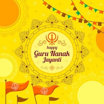 Concetto di design piatto guru nanak jayanti