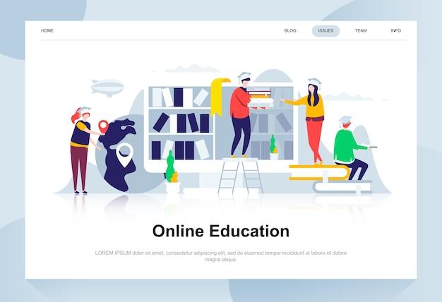 Concetto di design piatto moderno di formazione online.