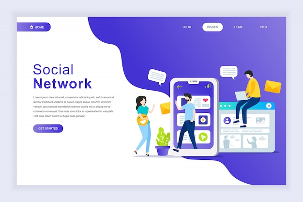 Concetto di design piatto moderno di social network per sito web