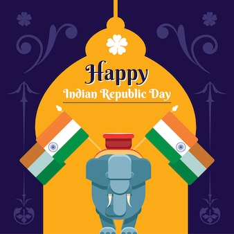 Concetto di design piatto per la festa della repubblica indiana