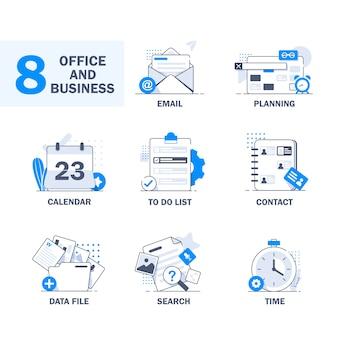 Concetto di design piatto per la gestione del tempo, il targeting, la pianificazione del lavoro e i tempi, il calendario, la lista delle cose da fare