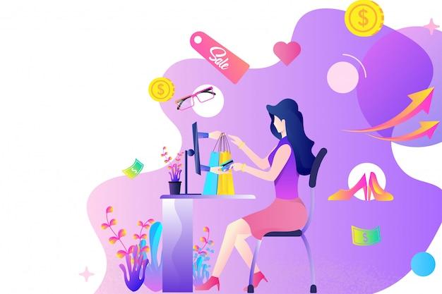 Concetto di design piatto piattaforma dello shopping online. una donna che compra oggetti o prodotti tramite carta di credito tramite il computer e la tecnologia di pagamento online