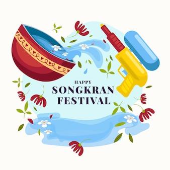 Concetto di design piatto songkran