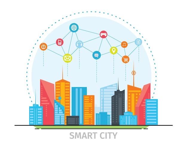 Concetto di design piatto sottile linea per smart city