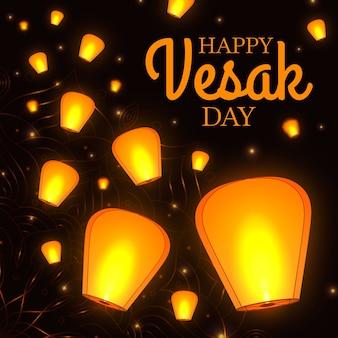 Concetto di design piatto vesak con candele