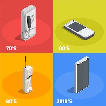 Concetto di design retrò dispositivi 2x2 con telefoni di vari decenni isolati su 3d colorato