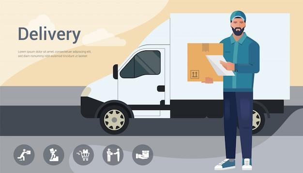 Concetto di design vettoriale con illustrazione di un uomo corriere barbuto da un servizio di consegna merci