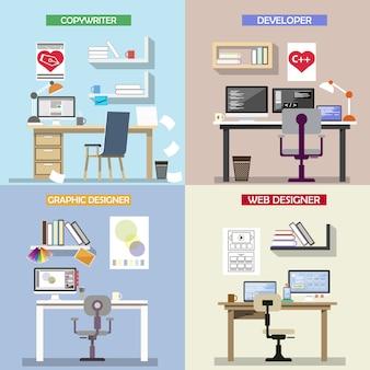 Concetto di design vettoriale per luoghi di lavoro