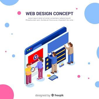 Concetto di design web colorato con prospettiva isometrica