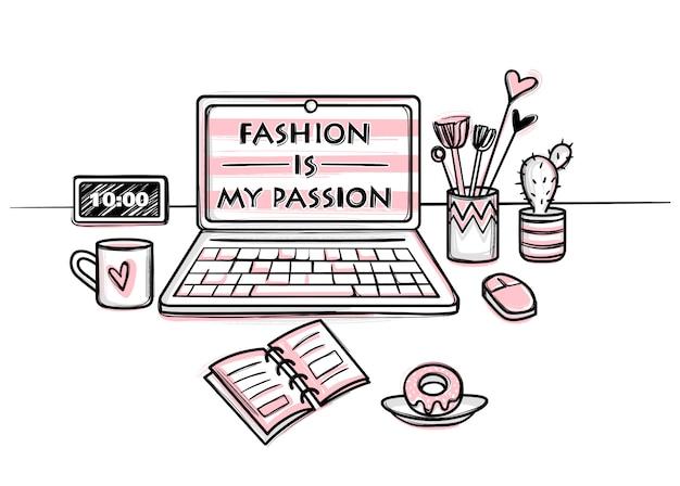 Concetto di desktop per ragazze. luogo di lavoro elegante. illustrazione vettoriale moda