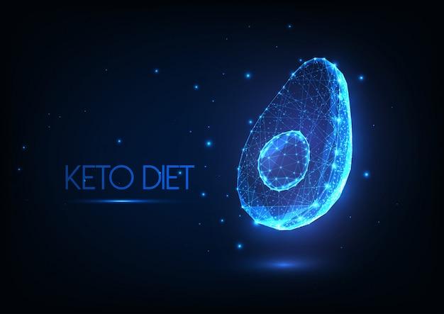 Concetto di dieta chetogenica poligonale bassa incandescente futuristica con avocado mezzo