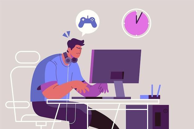 Concetto di dipendenza dei giochi online con il giocatore