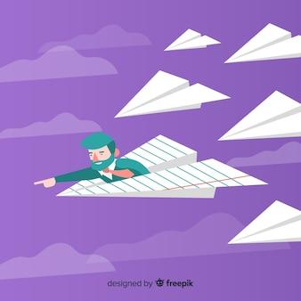 Concetto di direzione con gli aerei di carta