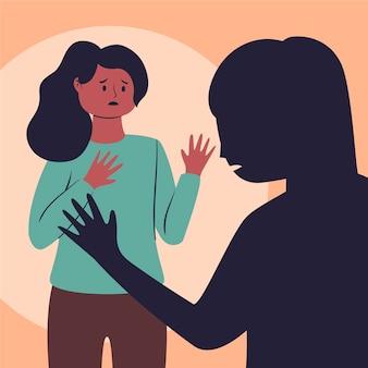 Concetto di diritti civili donna spaventata