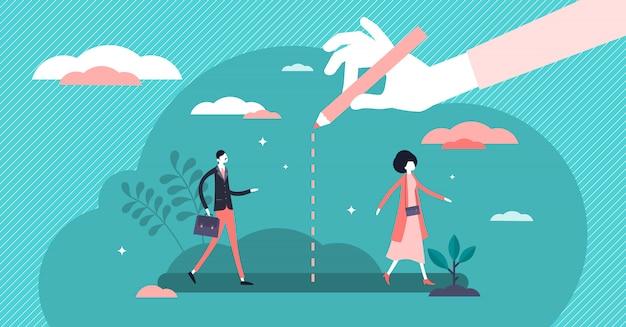 Concetto di distanza sociale, persone piatte minuscole