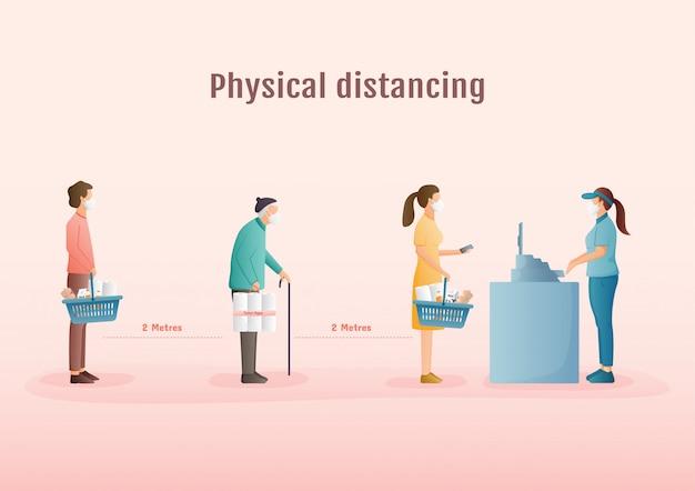 Concetto di distanziamento fisico. tenere almeno due metri di distanza da altre persone per proteggersi dalla cattura di coronavirus al supermercato.