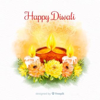Concetto di diwali con sfondo acquerello