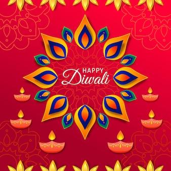 Concetto di diwali in stile carta