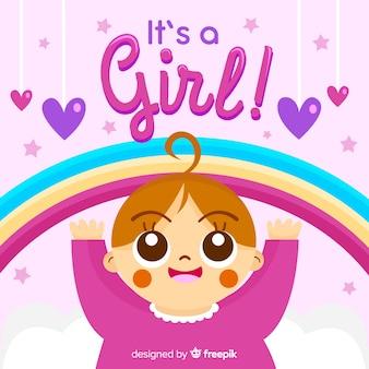 Concetto di doccia baby rosa per ragazza
