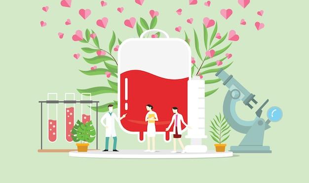 Concetto di donazione di sangue con borsa per persone e sangue