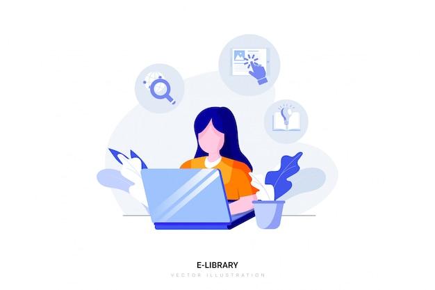 Concetto di e-biblioteca con carattere