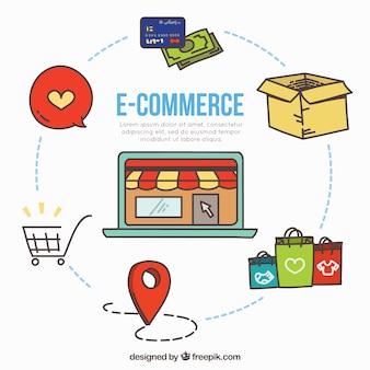 Concetto di e-commerce disegnato a mano