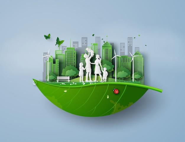 Concetto di eco e ambiente con la famiglia