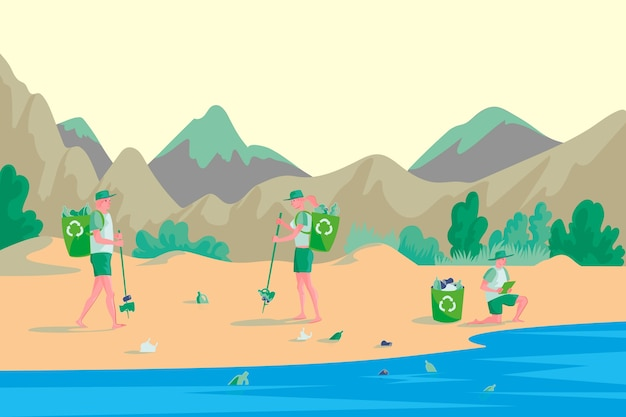 Concetto di ecologia con persone che puliscono la spiaggia