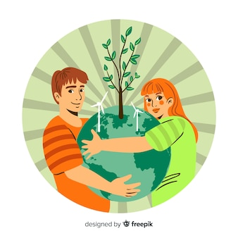 Concetto di ecologia disegnata a mano con elementi naturali