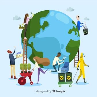 Concetto di ecologia. gruppo di persone che si prendono cura del pianeta, salvando la terra