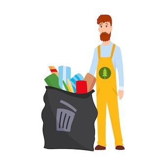 Concetto di ecologia. illustrazione dettagliata di immondizia uomo in uniforme e cassonetto in stile piano. illustrazione vettoriale